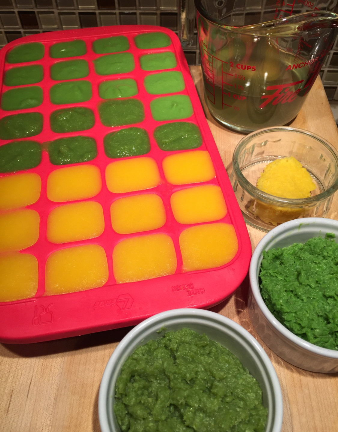 Mango and Green Pea Purees Ready for Fre
