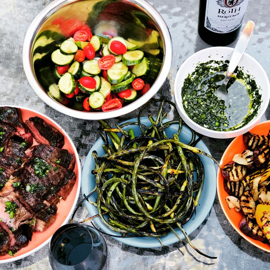 Garlic Scapes - Grilled & Chimichurri Sauce