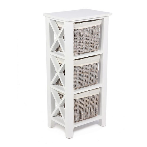 Lomond White 3 Basket Vertical Cabinet With Linings