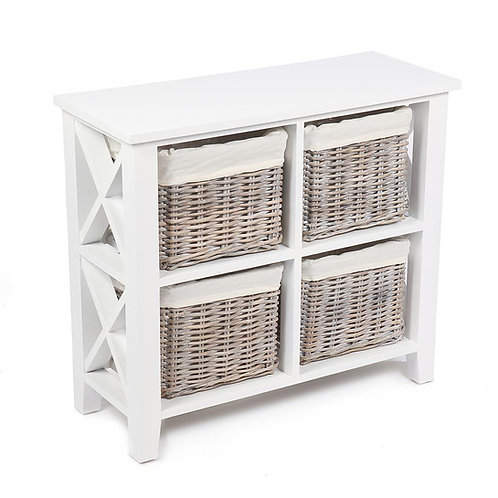 Lomond White 4 Basket Square Cabinet With Linings