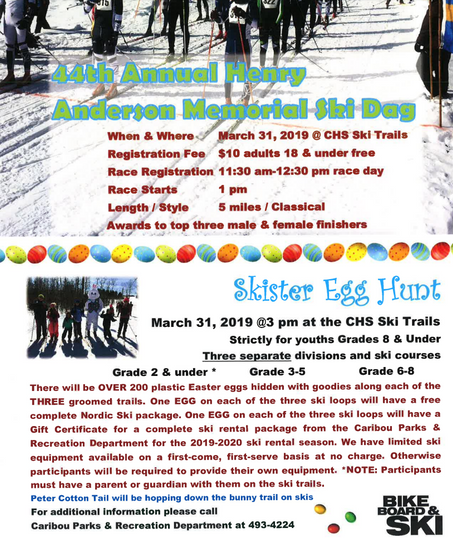 Come To CHS Ski Trails March 31 for some Easter Fun!