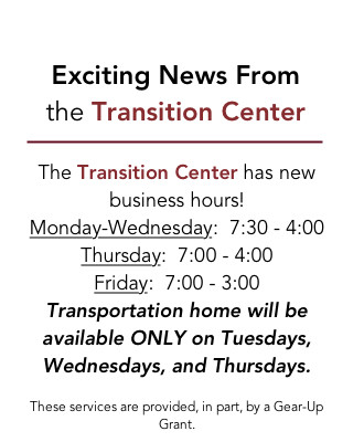 CHS Transition Center Expands Hours for Tutoring