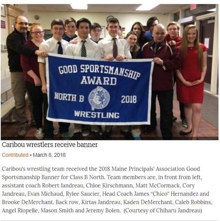 Caribou Wrestling Team Receives Good Sportsmanship Award