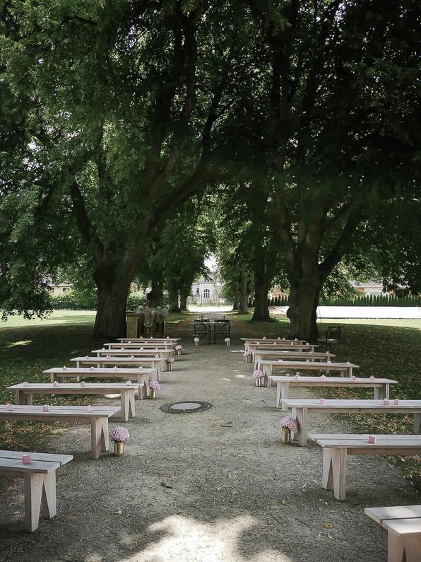Trauung unter Bäumen Allee
