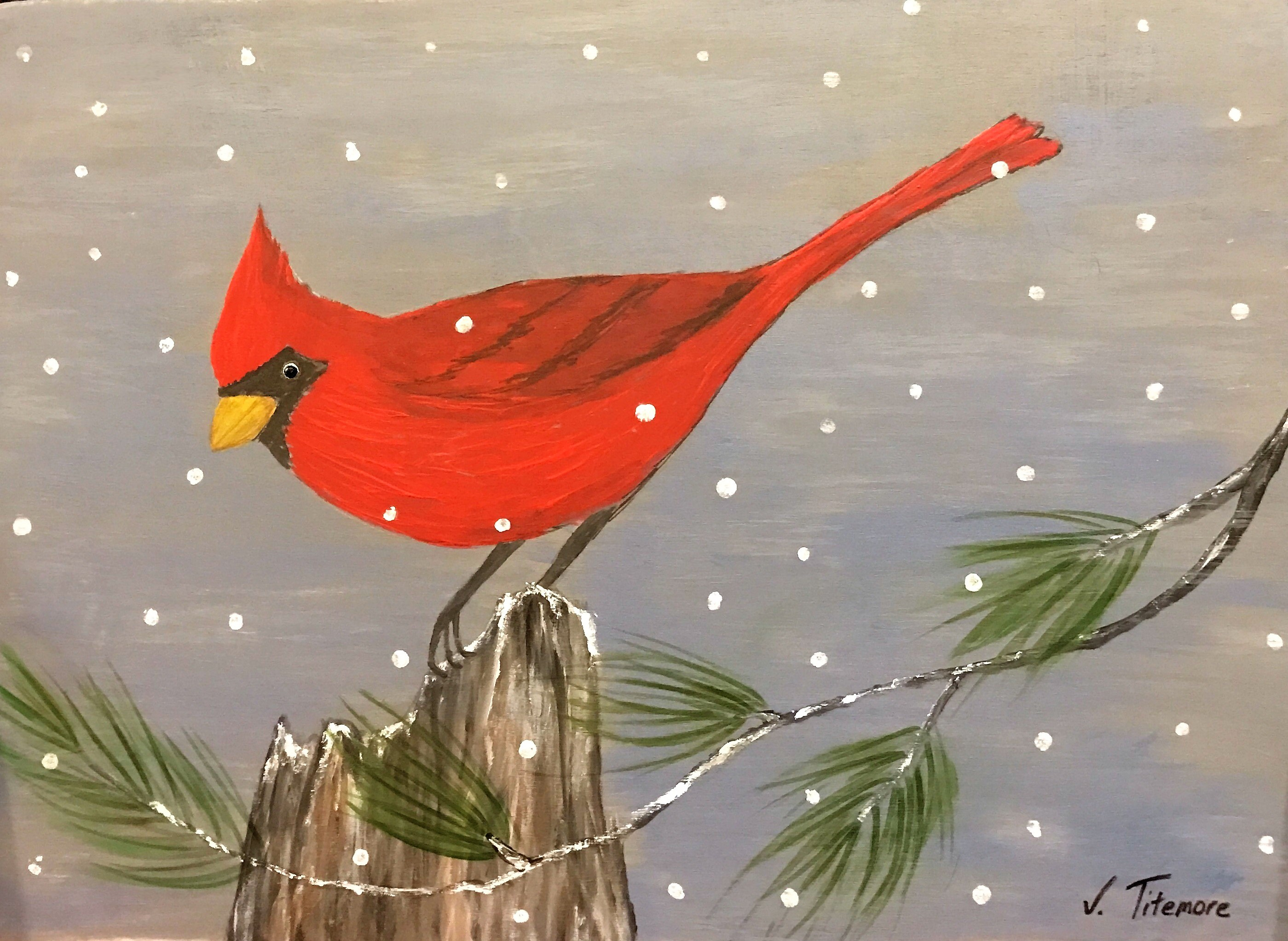Northern Cardinal Wooden Sign