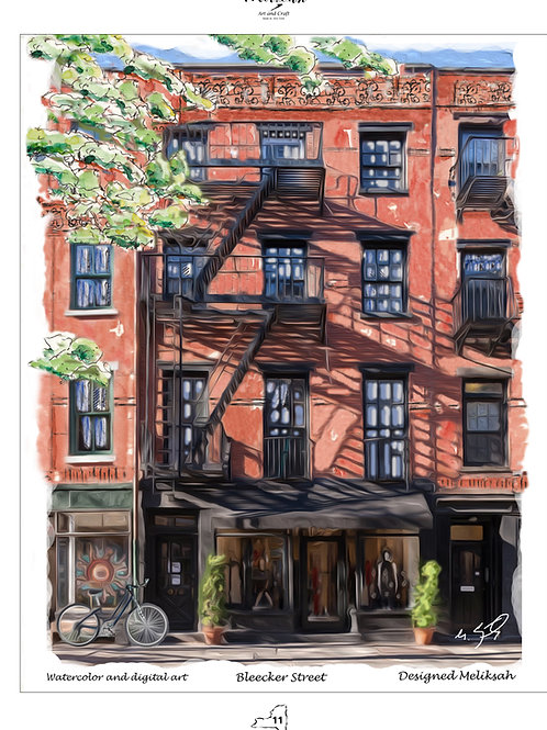Bleckeer Street, watercolor and digital painiting, print,designed by meliksah