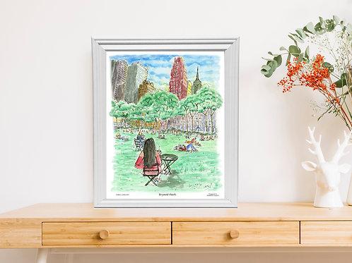 Bryant Park, watercolor designed by Melixah