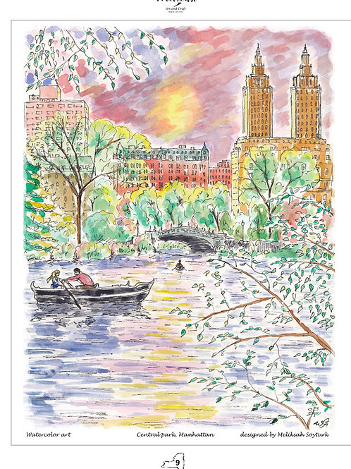 Central park, Watercolor ,designed by Melixah
