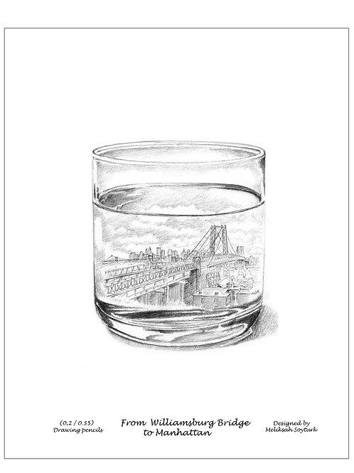 williamsburg bridge to Manhattan on Glass ,unique art work