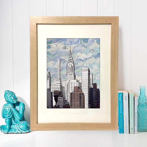 The Chrysler Building is an Art Deco–style skyscraper,watercolor ,drawing