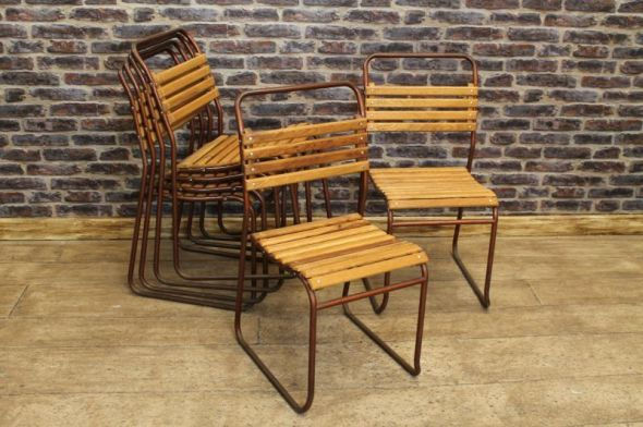 slatted french school chair hire