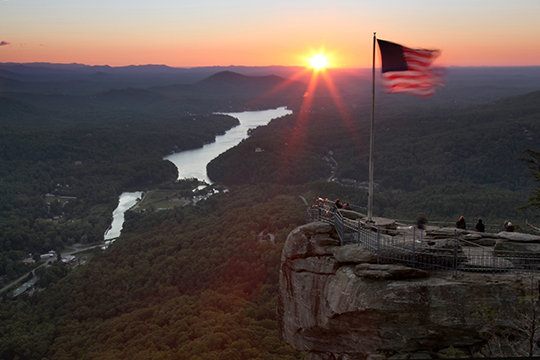 Sunrise over Chimney Rock, NC