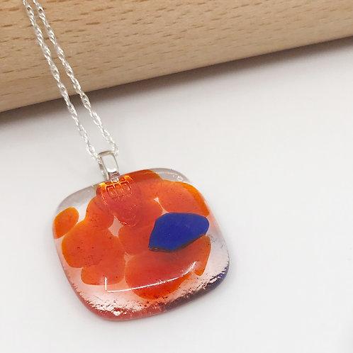 Extra Small Translucent Orange & Cobalt Square