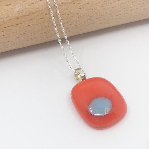 Tiny Orange Pendant with Turquoise Pop