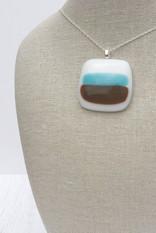 Aqua & Brown Stripes on White (Medium Pendant)