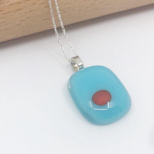 Tiny Turquoise Pendant with Orange Pop