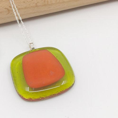 Medium Orange on Lime Green Square