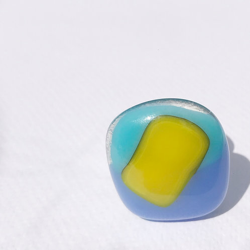 Statement Ring - Turquoise, Periwinkle & Sunflower Yellow