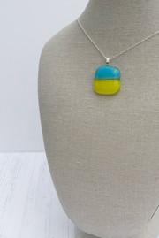 Cyan & Yellow Horizontal Stripe Pendant (Extra Small)