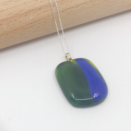 Small Translucent Dark Forest Green & Cobalt Pendant