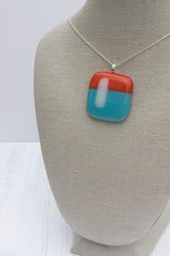 Orange & Aqua White Stripe Pendant