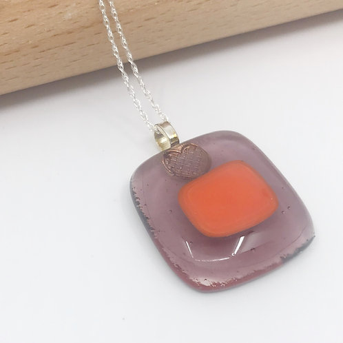 Small Orange on Light Violet Pendant