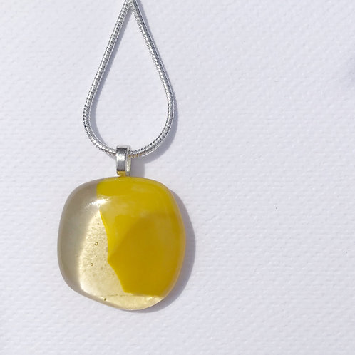 Extra Small Puddle Pendant - Sunflower Yellow and Light Amber