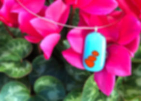 Fused Glass Pendant in Turquoise and Orange