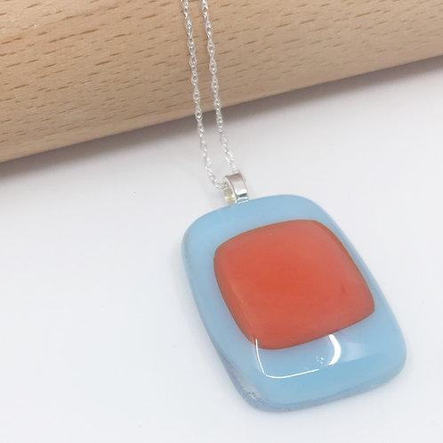 Small Orange on Glacier Blue Pendant