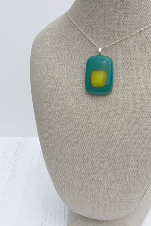 Bubble Pendant (Yellow on Teal) (Small)