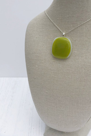 Spring Green on White (Small Pendant)