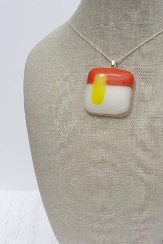 Orange & White with Yellow Stripe (Medium Pendant)
