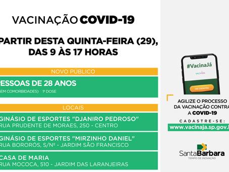 Covid-19: vacinação para pessoas de 28 anos – sem comorbidades – ocorre a partir desta quinta (29)