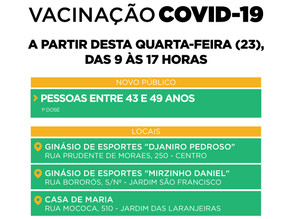 Vacinação contra a Covid-19 para pessoas entre 43 e 49 anos sem comorbidades começa nesta quarta