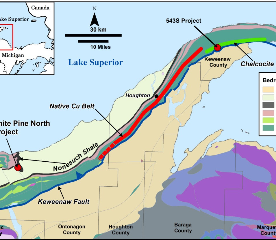 Figure K-1. Regional geology map of the Keweenaw Peninsula with project location