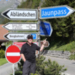 Sign post on the way up to Jaunpass, Switzerland.