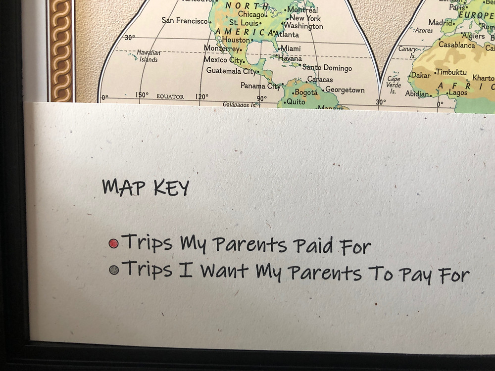 Map Key identifies red pins as pins my parents paid for and grey pins for trips I want my parents to pay for