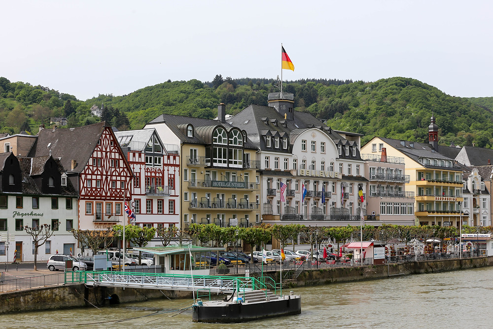 Ferry port and hotels along the Rhine at the city of Boppard