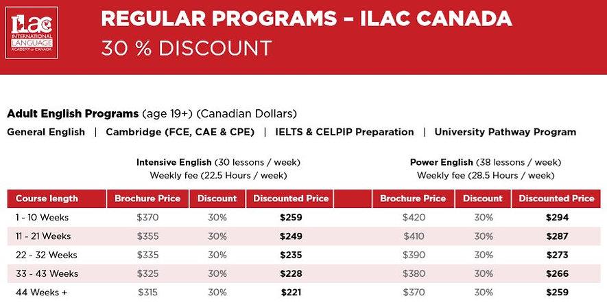 ILAC CANADA REGULAR PROGRAMS 30 % DISCOUNT.JPG
