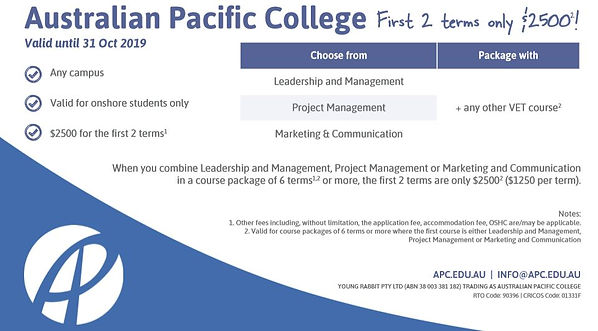 Australian Pacific College First 2 Terms