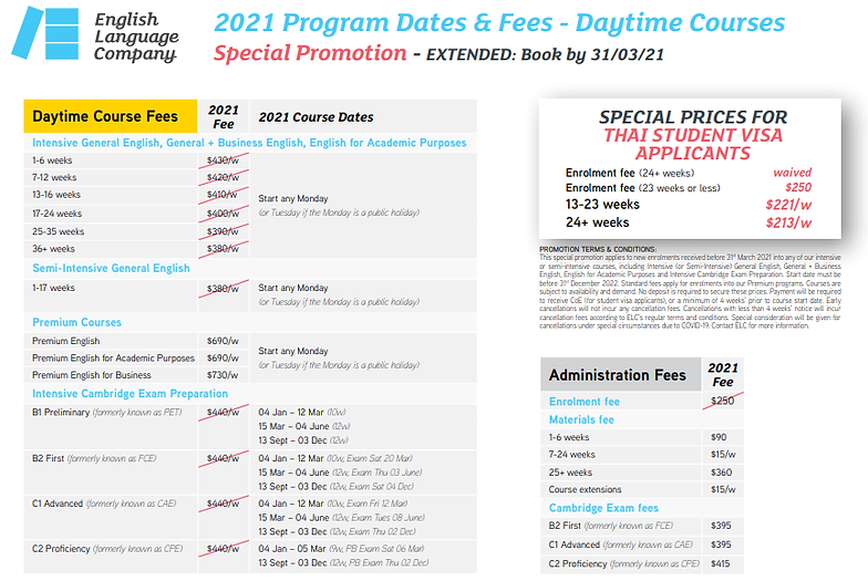 ELC Program Dates-Fees Daytime Courses 2