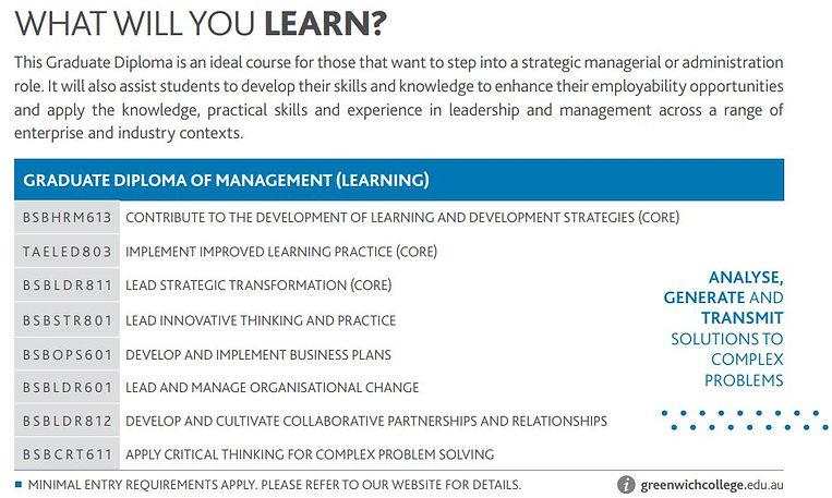 Greenwich Graduate Diploma what you learn.JPG