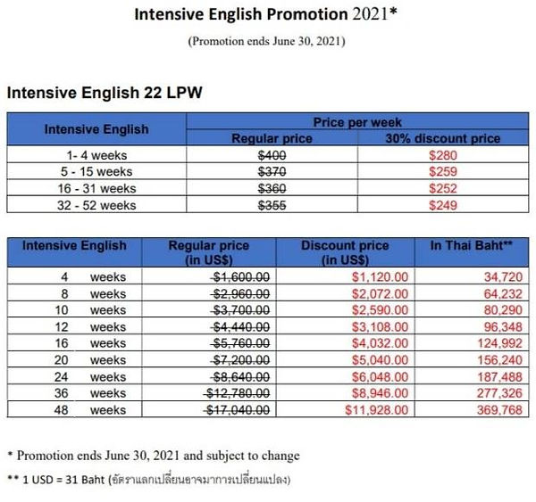 TALK Intensive English Promotion end Jun