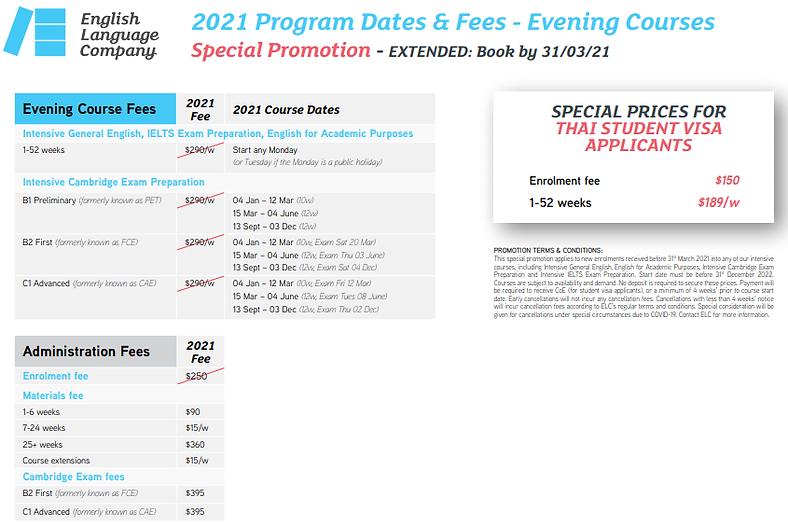 ELC Program Dates-Fees Evening Courses 2