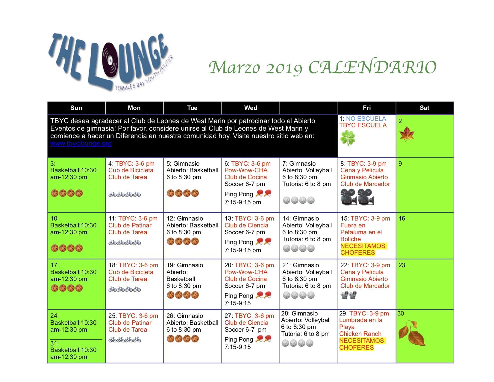 Marzo Calendario.Marzo Calendario Tbyc