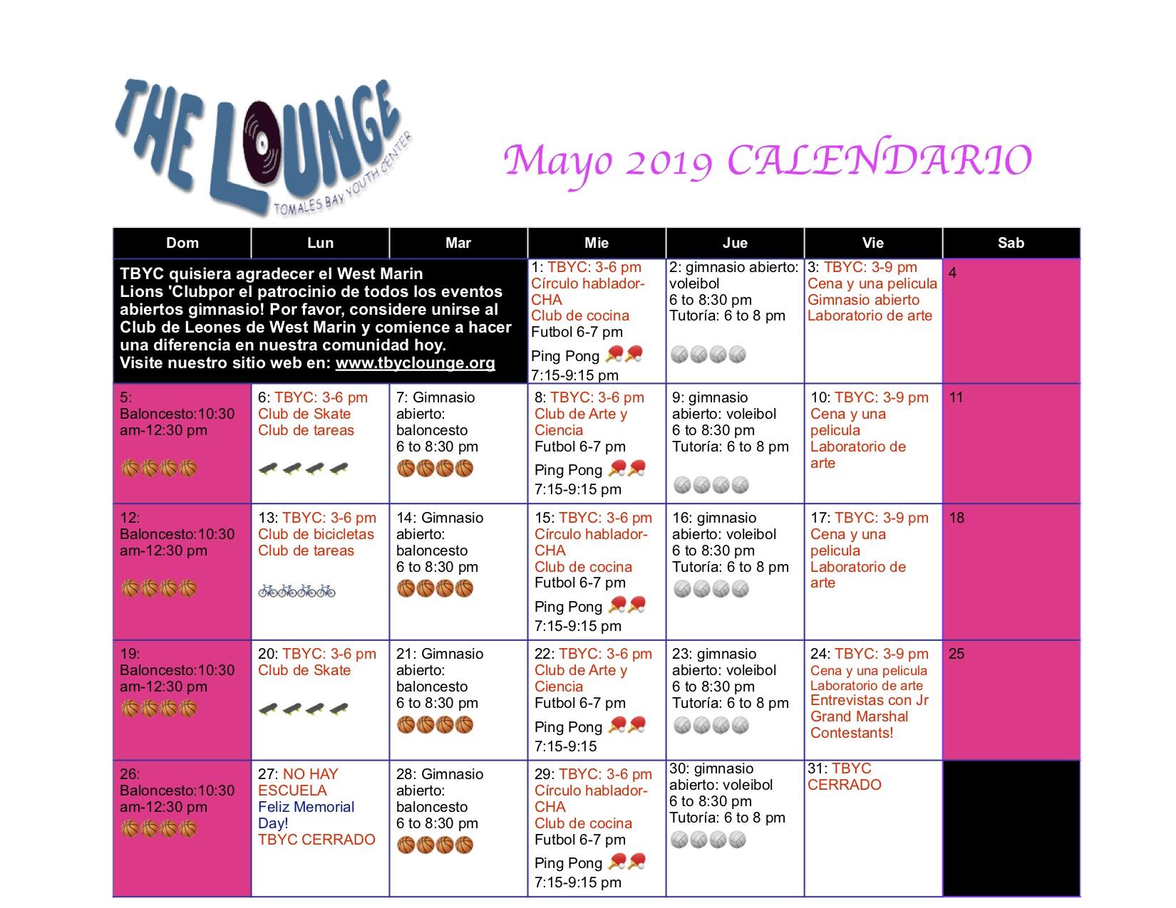 Futbol Calendario.Mayo Calendario De Eventos Tbyc