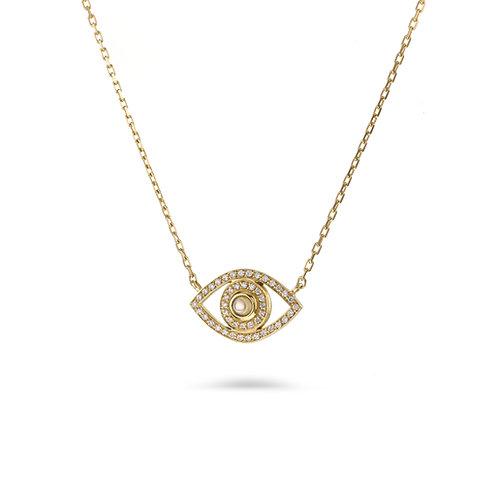 Mini Eye Necklace in white Diamonds - Yellow gold