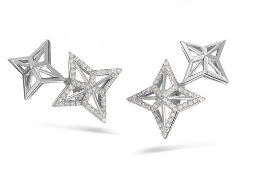 Star earrings - White gold