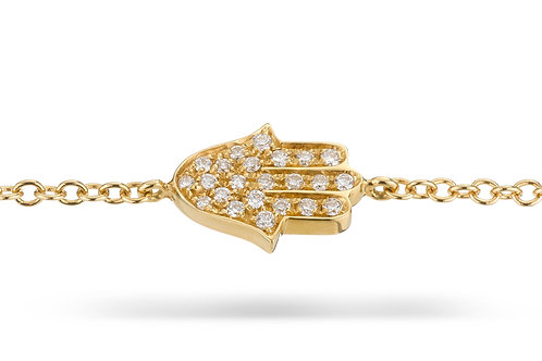 Hamsa Pave' Bracelet in Yellow gold