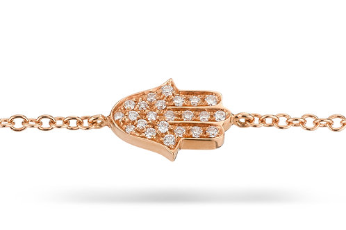 Hamsa Pave' Bracelet in Rose' gold